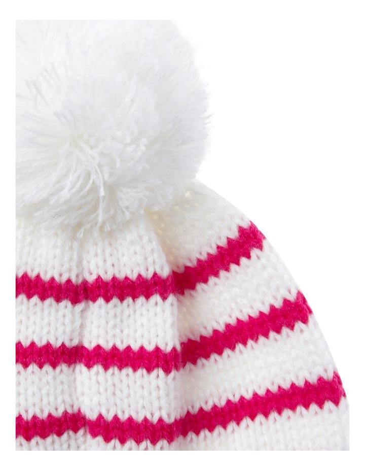 Girls Red Stripe Beanie image 2