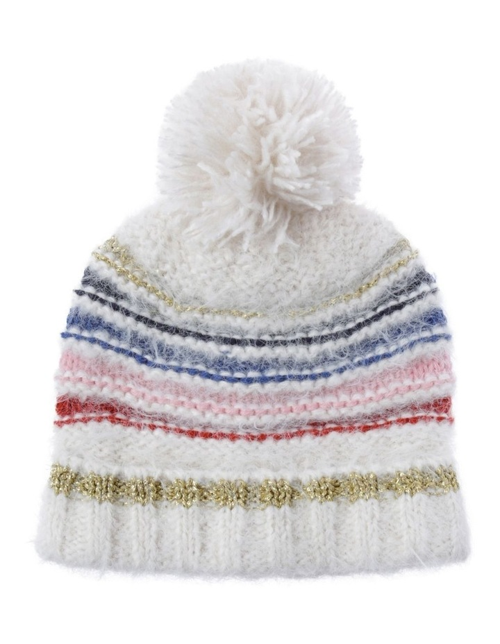 Knit Beanie with Multi Stripe image 1