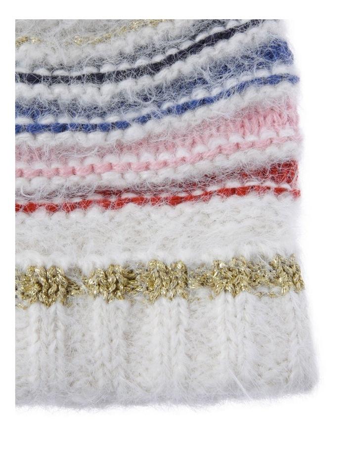 Knit Beanie with Multi Stripe image 2