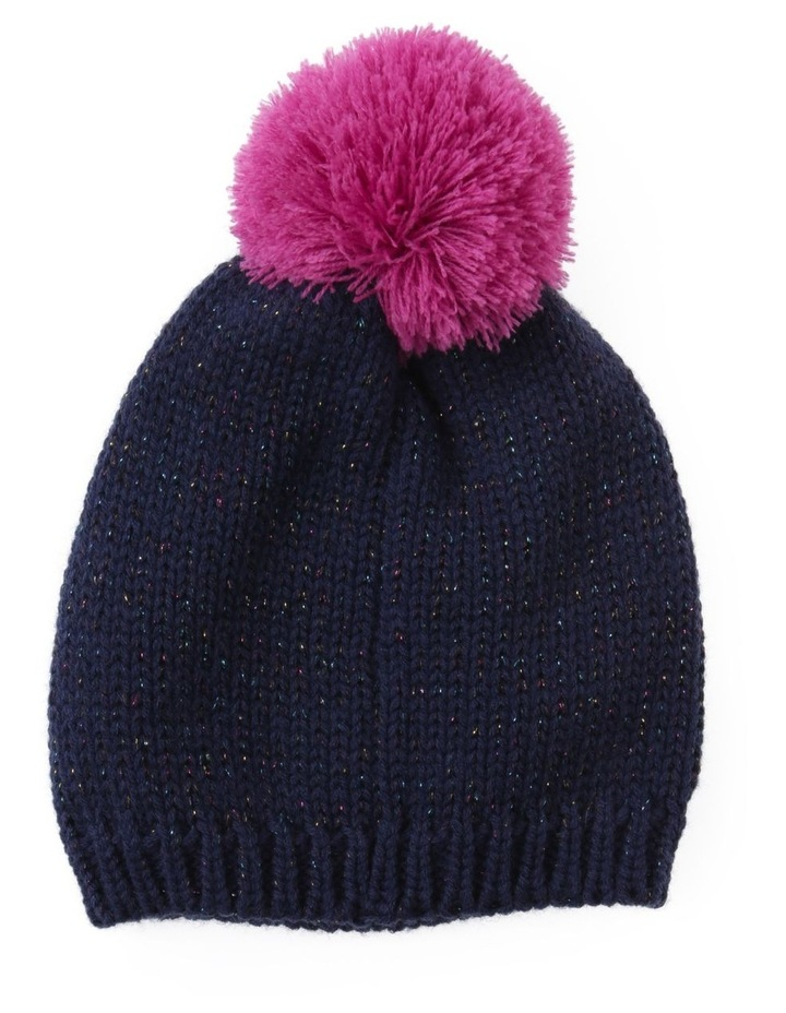 Girls Navy Speckle Beanie with Pom-Pom image 1