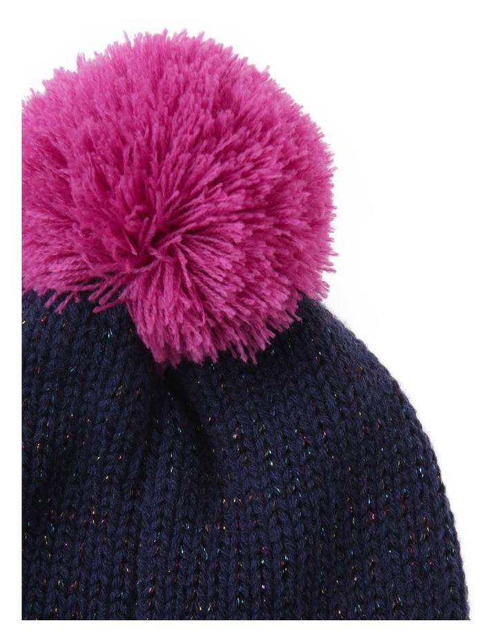Girls Navy Speckle Beanie with Pom-Pom image 2
