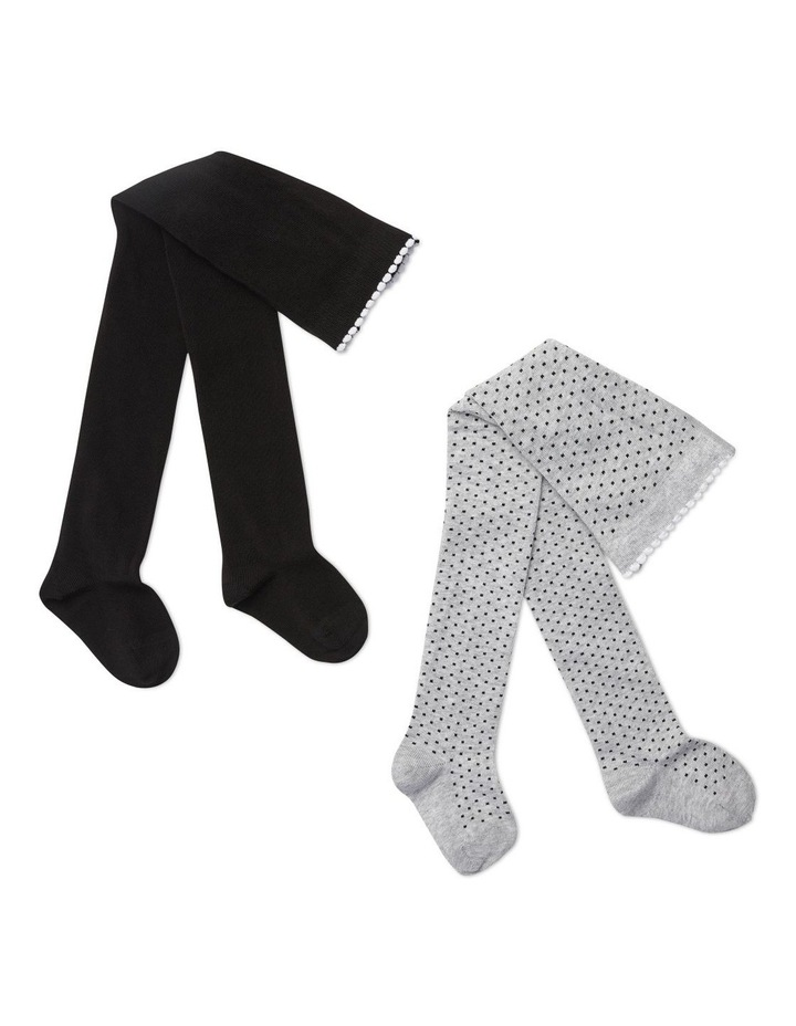 2 Pack Dots   Plain Knitted Tights image 1