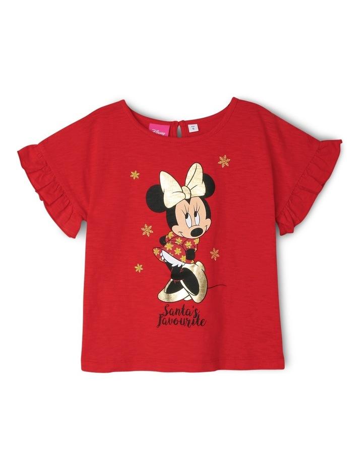 Santa's Favourite Minnie Frill Sleeve Tee image 1