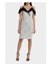 Tokito Collection - Flutter Sleeve Lace Dress With Pleat Detail