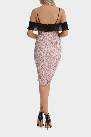 Tokito Collection - flutter sleeve lace dress pleat detail