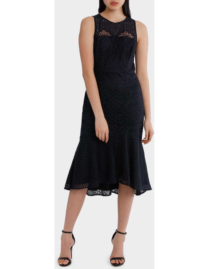 high neck lace midi dress image 1