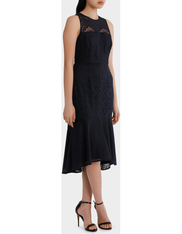 high neck lace midi dress image 2