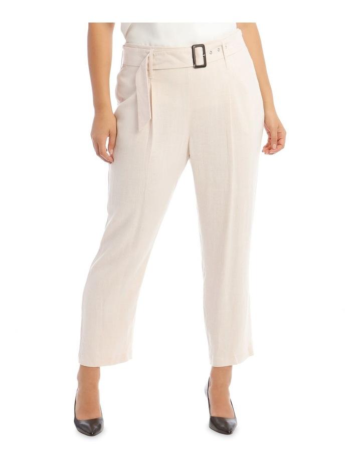 Natural Linen Blend Belted Pant image 1