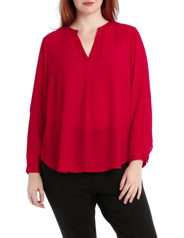 Satin Trim Roll Cuff Shirt - Red image 1