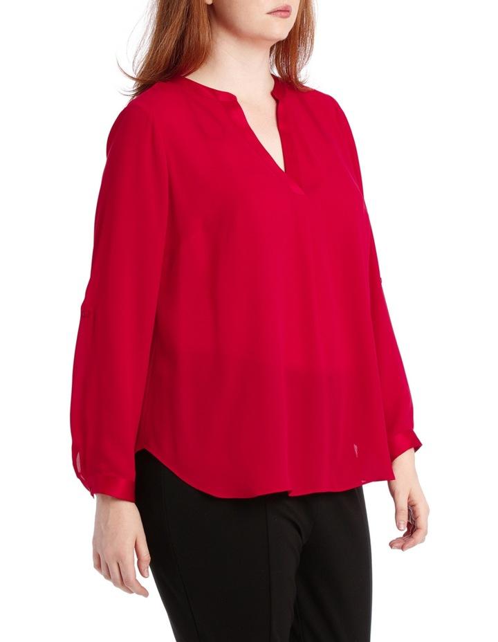 Satin Trim Roll Cuff Shirt - Red image 2