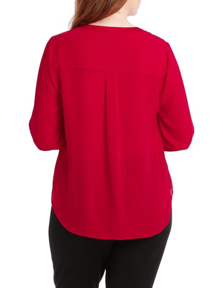 Satin Trim Roll Cuff Shirt - Red image 3