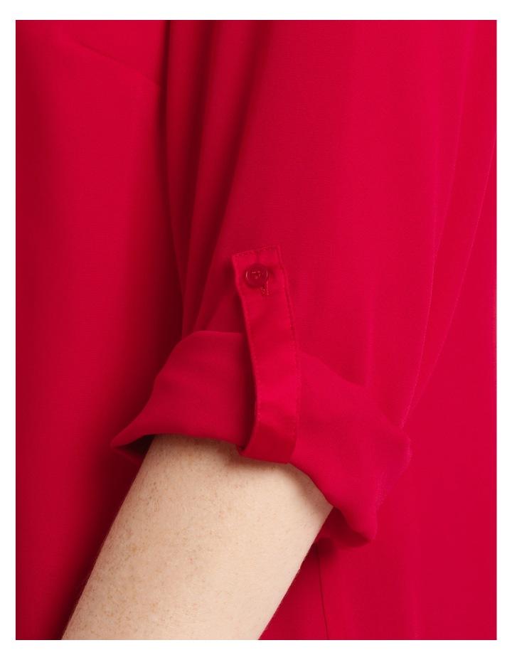 Satin Trim Roll Cuff Shirt - Red image 4