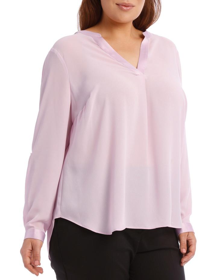 Satin Trim Roll Cuff Shirt - Lilac image 2