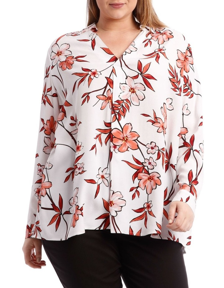 Painted Floral Collared Top image 1