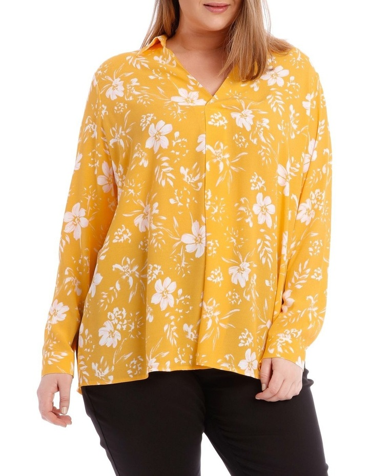 Yellow Floral Collared Top image 1