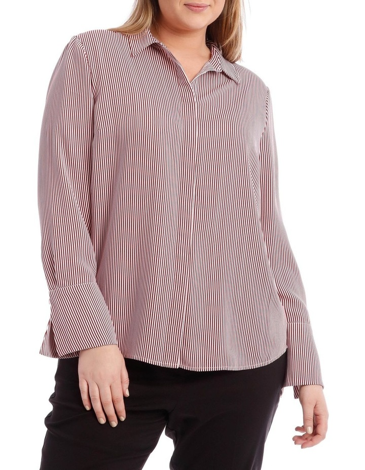 Burgundy Stripe Work Shirt image 1