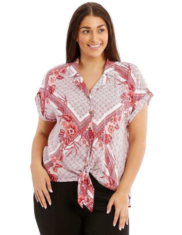 Scarf Print Extended Shoulder Shirt image 1