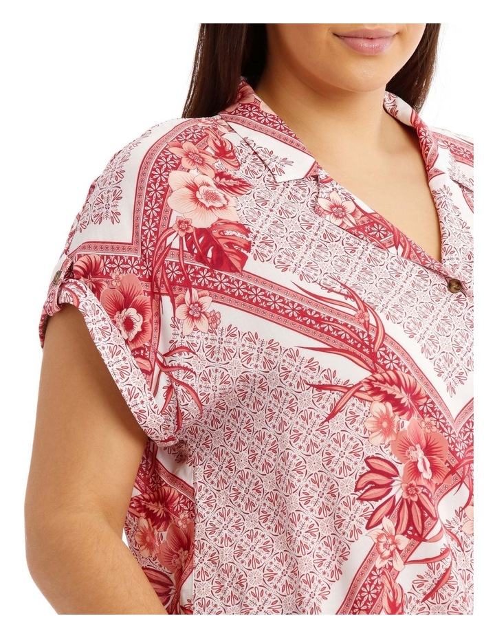 Scarf Print Extended Shoulder Shirt image 4