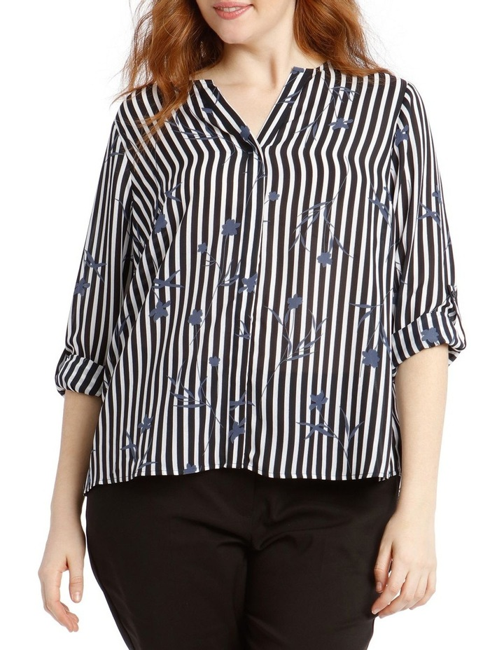 Concealed Placket Shirt - Floral Stripe image 1