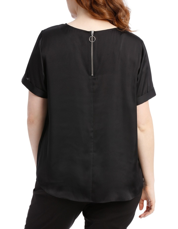 Zip Back Satin Top - Black image 2