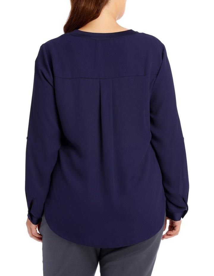 Satin Trim Roll Cuff Shirt - Indigo image 3