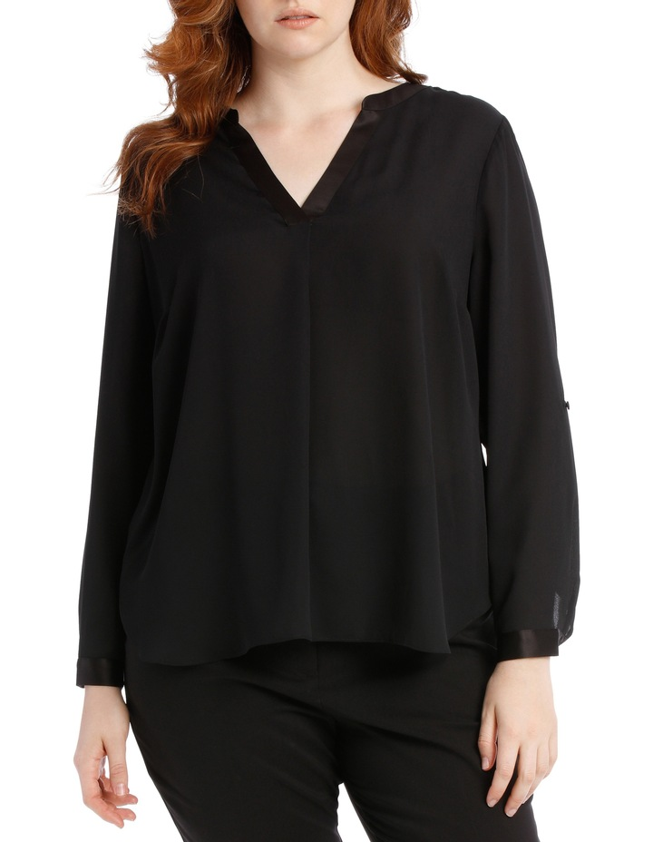 Satin Trim Roll Cuff Shirt - Black image 1