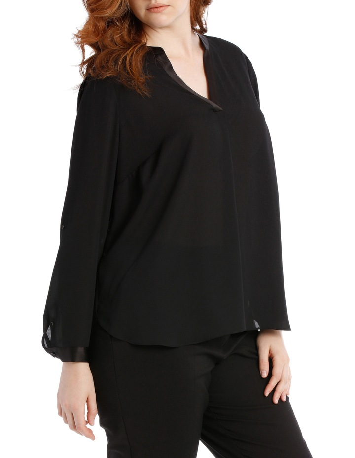 Satin Trim Roll Cuff Shirt - Black image 2