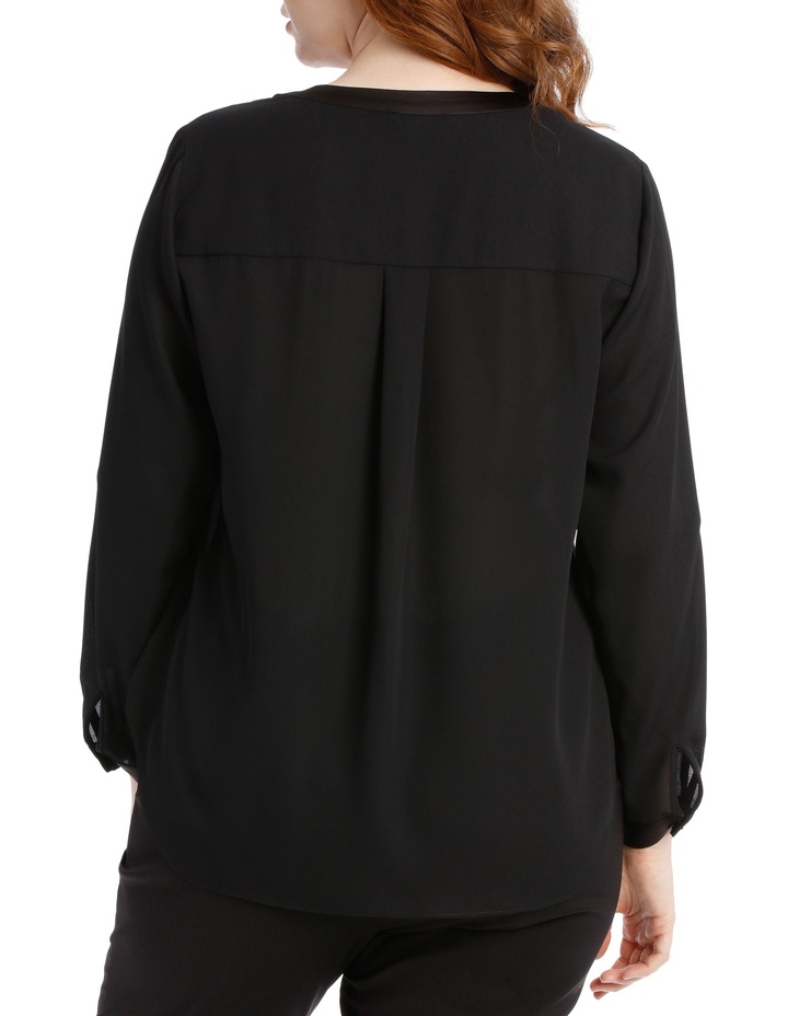 Satin Trim Roll Cuff Shirt - Black image 3