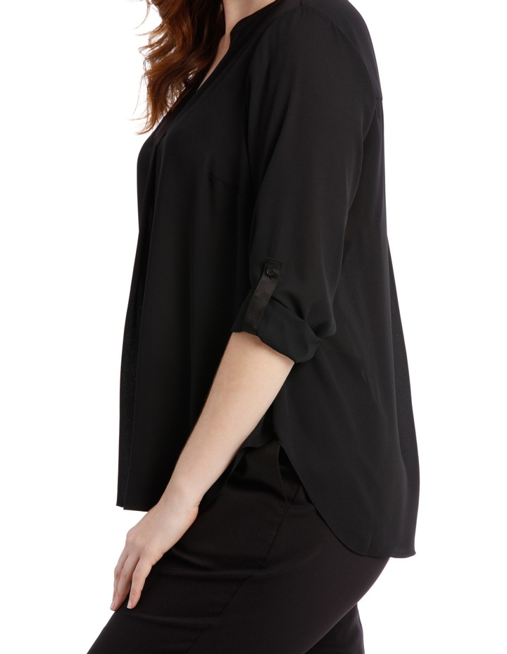 Satin Trim Roll Cuff Shirt - Black image 4