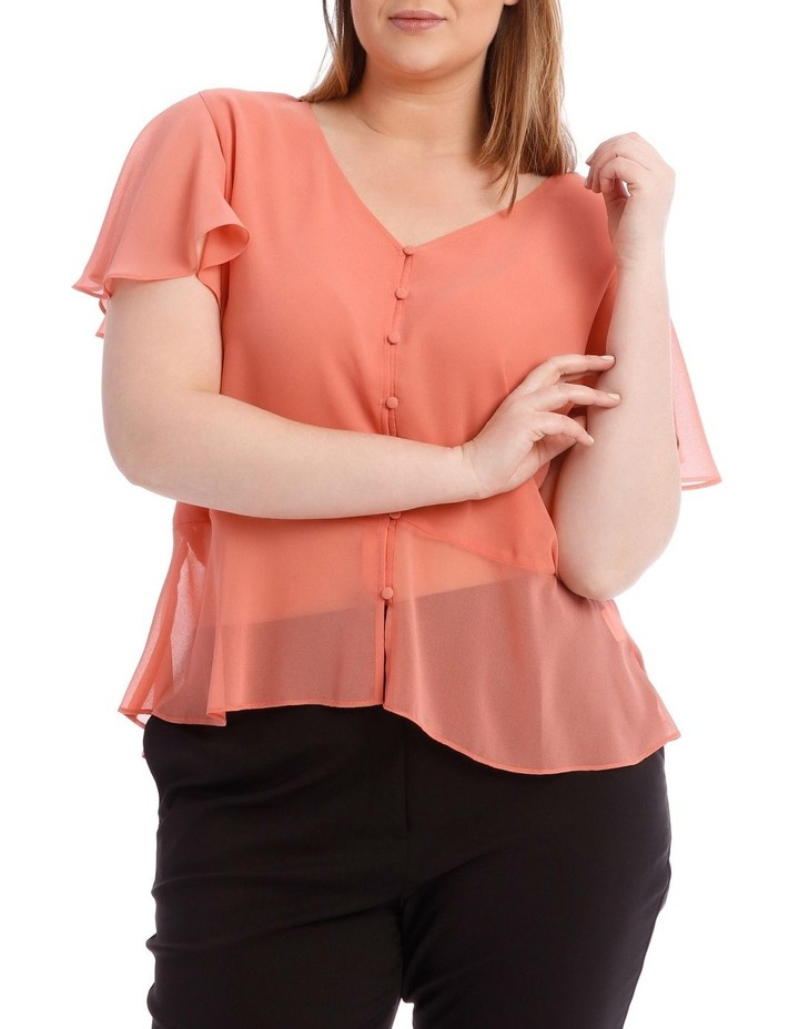 Peach Button Up Blouse image 1