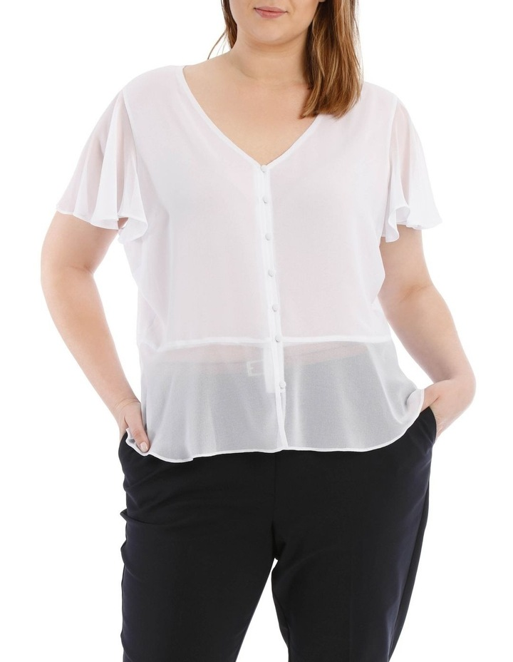 White Button Up Blouse image 1