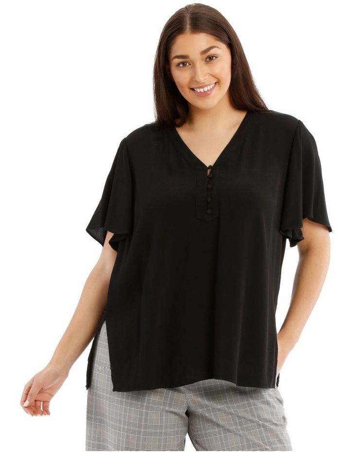 Button Front Flutter Sleeve Top image 1