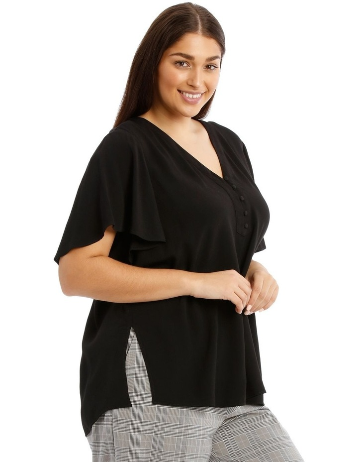 Button Front Flutter Sleeve Top image 2