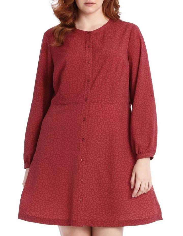 button through shirt dress - ocelot image 1