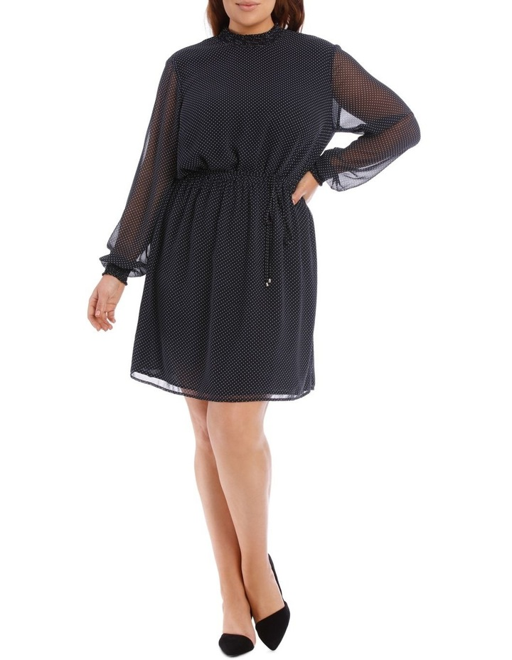 Micro Dot Shirred Neck Dress image 1