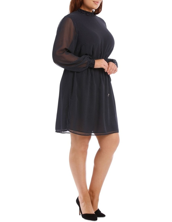Micro Dot Shirred Neck Dress image 2