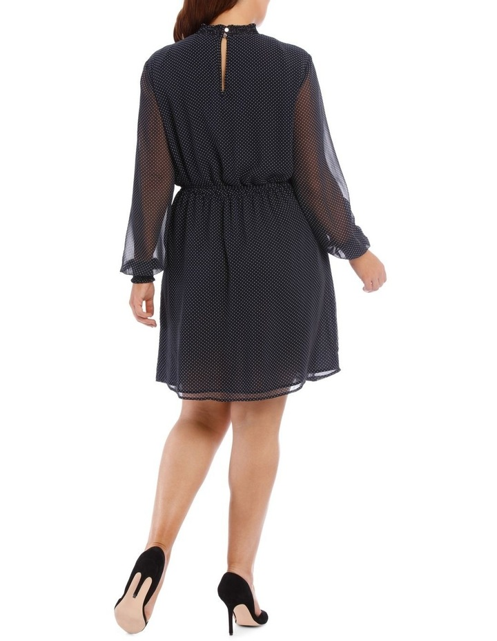 Micro Dot Shirred Neck Dress image 3