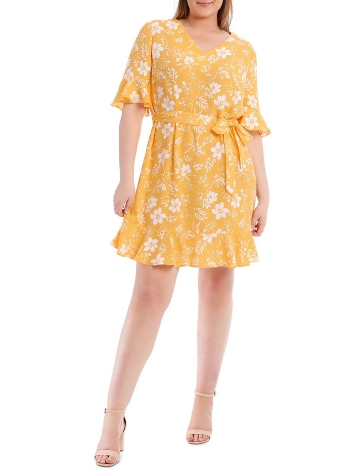 Yellow Floral Frill Sleeve Dress image 1