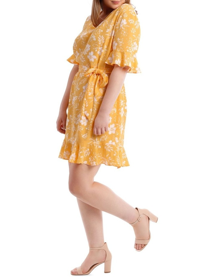 Yellow Floral Frill Sleeve Dress image 2