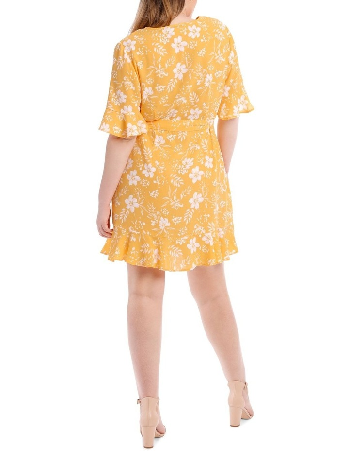 Yellow Floral Frill Sleeve Dress image 3