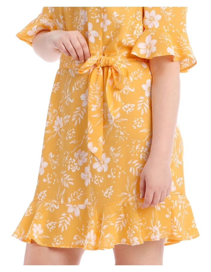 Yellow Floral Frill Sleeve Dress image 4