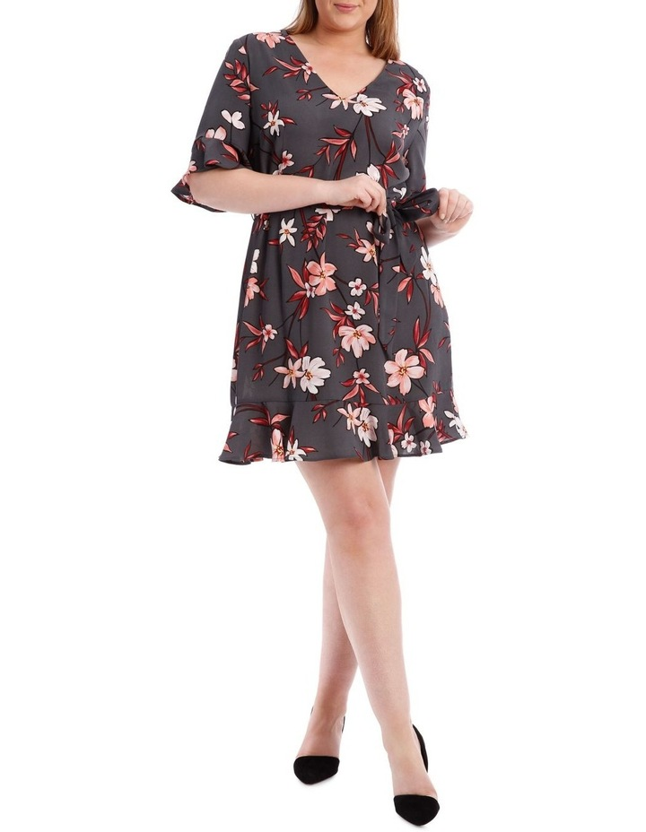 Painted Floral Frill Sleeve Dress image 1