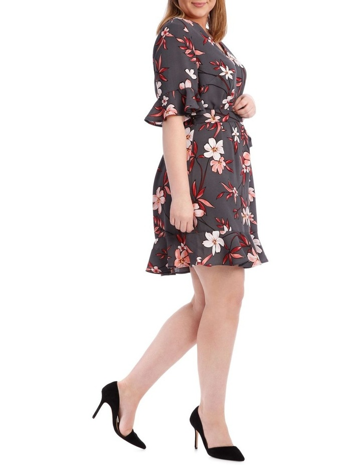 Painted Floral Frill Sleeve Dress image 2
