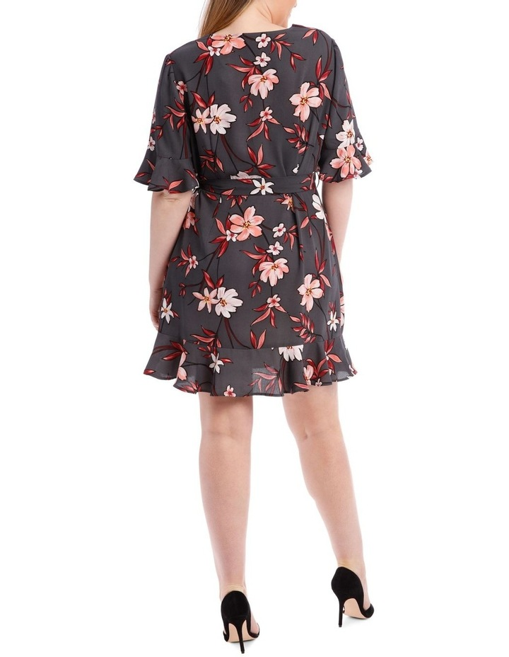 Painted Floral Frill Sleeve Dress image 3