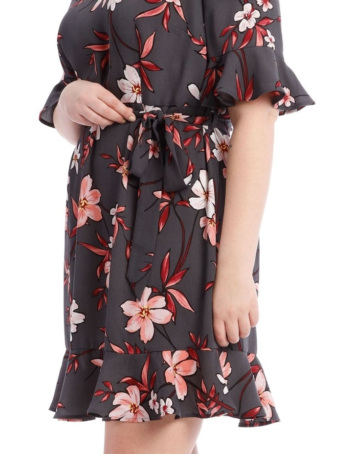 Painted Floral Frill Sleeve Dress image 4