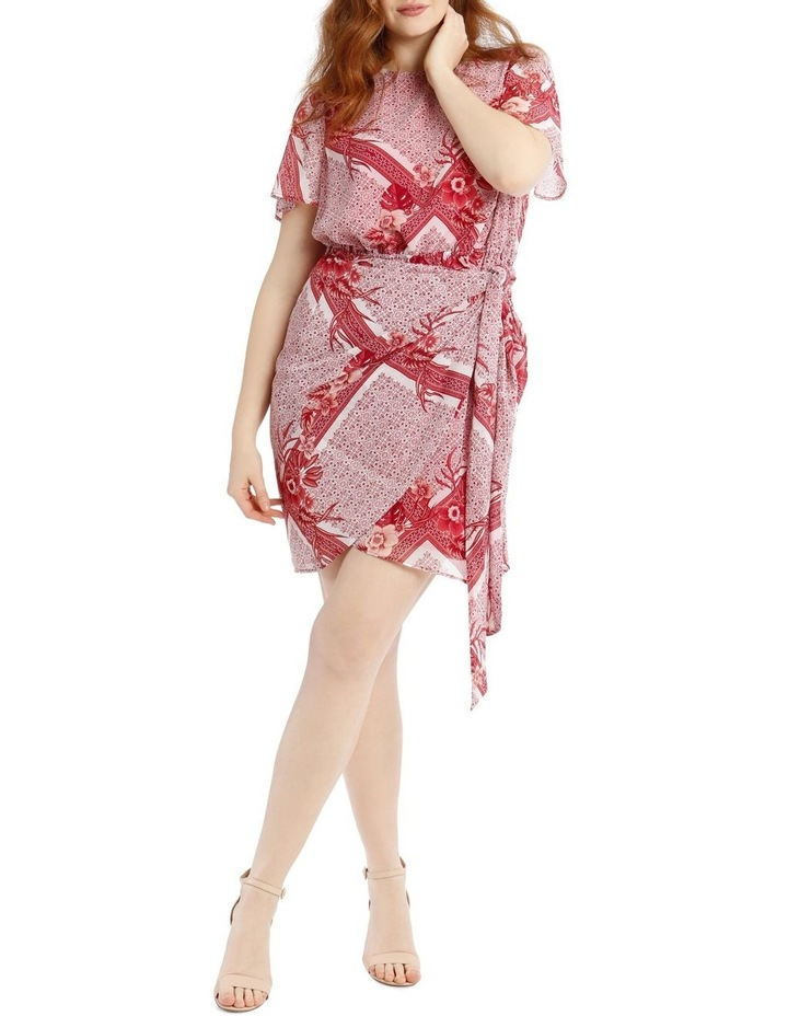 Scarf Printed Apron Front Dress image 1