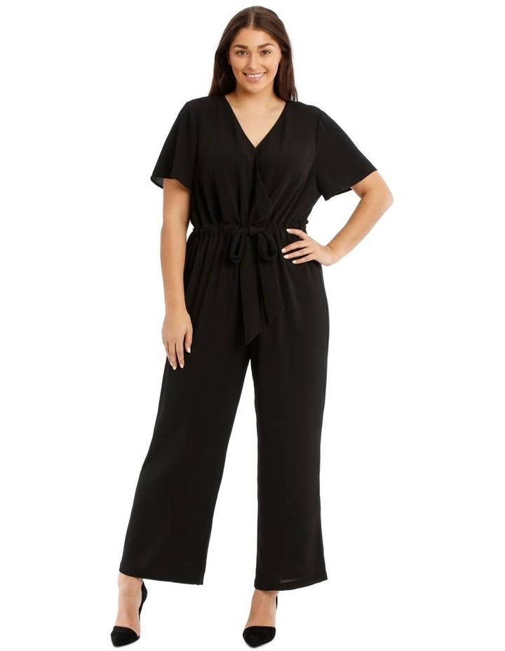 Black Flutter-Sleeve Jumpsuit image 1