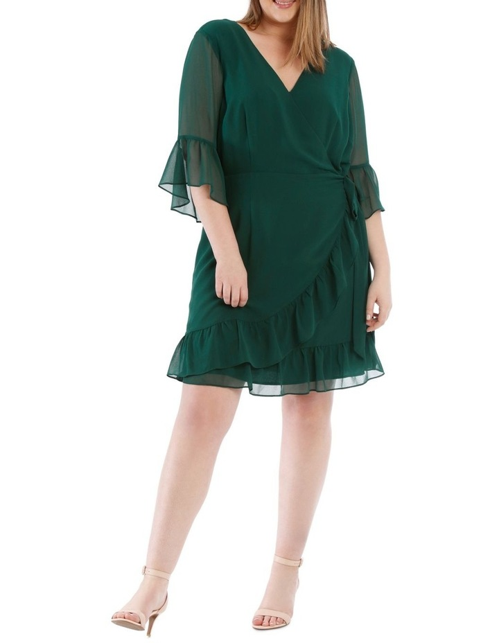Wrap Dress With Flutter Sleeve - Dark Emerald image 1