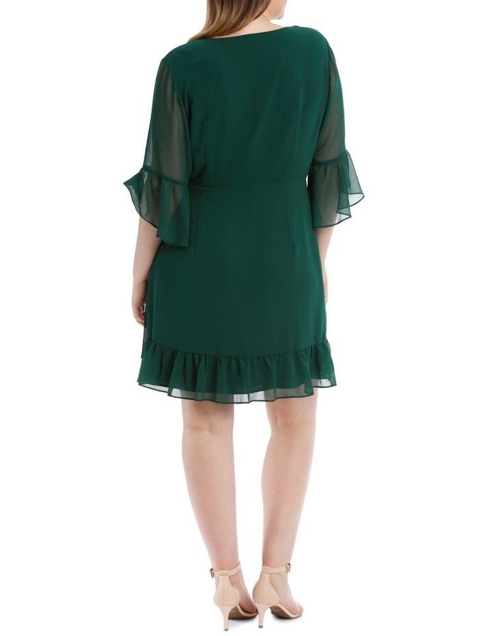 Wrap Dress With Flutter Sleeve - Dark Emerald image 3
