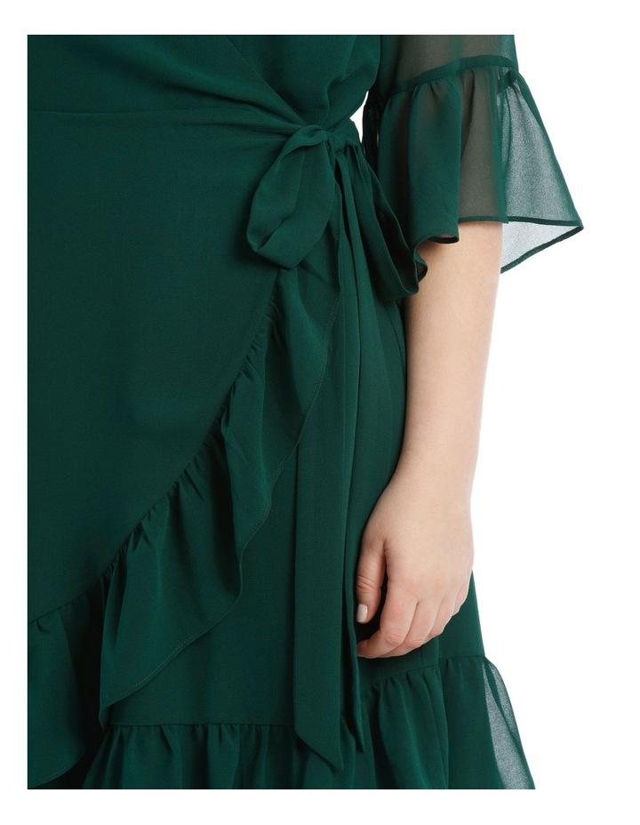 Wrap Dress With Flutter Sleeve - Dark Emerald image 4